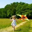 Stock Photo: Kid flying kite outdoor.