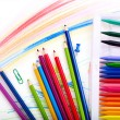 Close up of school supplies. — Stockfoto