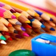 Close up of school supplies. - Foto de Stock  