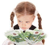 Sad child with money euro. — Foto Stock