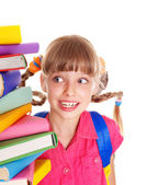 Child with pile of books. — Stock Photo