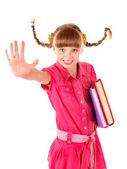 школьница холдинг кучу книг. — Стоковое фото