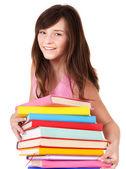 Meisje met stapel gekleurde book . — Stockfoto