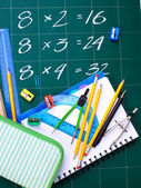 Multiplication table on board — Stock Photo