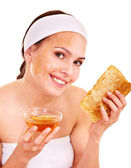 Natural homemade organic facial masks of honey. — Stock Photo