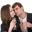 Stock Photo: Couple of girl and man kiss and drink wine.