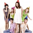 Group of teenagers celebrate birthday. — Stock Photo #6140257