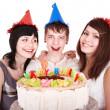 Group of happy young with cake. — Stock Photo #6140259
