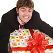 Business man with big gift box. — Stock Photo #6140286