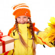Girl in autumn orange  hat with  leaf group, gift box. - Stock Photo