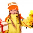 Girl in autumn orange hat with leaf group, gift box. — Stock Photo #6140298