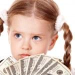 Sad child with money dollar. — Stock Photo #6140427