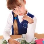 Sad child with money dollar. — Stock Photo #6140437