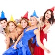 Group of young in party hat. - Stock Photo