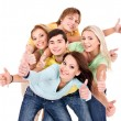 Stock Photo: Group of young on white.