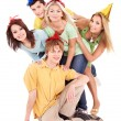 Group of young in party hat. — Stock Photo #6140633