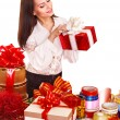 Foto Stock: Girl with group of color gift box.