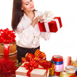 Stock Photo: Girl with group of color gift box.