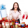 Girl with group of color gift box. — Stock Photo