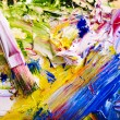 Close up of paint mixed on palette. — Stock Photo