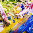 Close up of paint mixed on palette. — Stock Photo #6140998