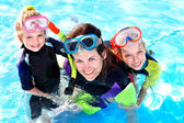 Children in swimming pool learning snorkeling. — Stock Photo