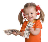 Baby girl with money dollar banknote. — Stock Photo