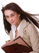 Clever girl with old book. — Stock Photo
