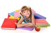 Enfant avec des tas de livres et apple. — Photo