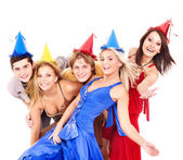 Group of young in party hat. — Stock Photo