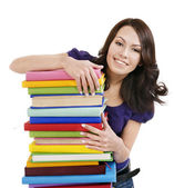 Girl with stack color book . — Stock fotografie