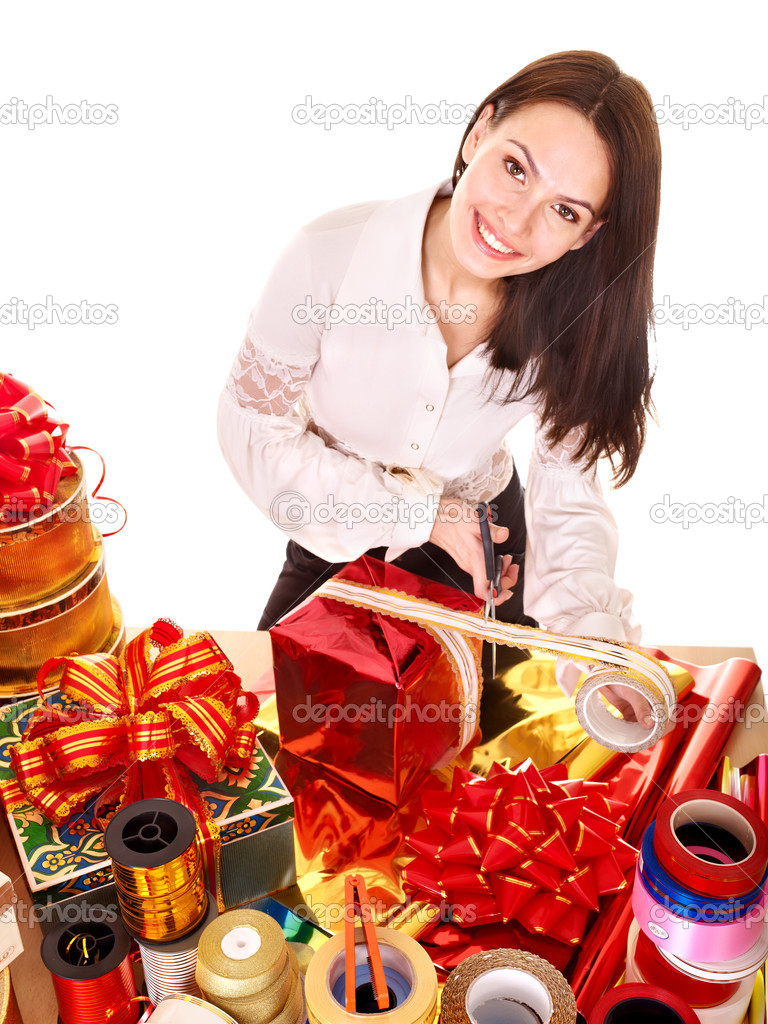 Girl with group of color gift box.. Isolated. — Stock Photo #6140946