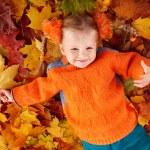 Girl child in autumn orange leaves. — Stock Photo
