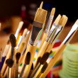 Close up of art utensils. - 
