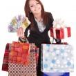 Woman holding money, gift box and shopping bag. — Stock Photo #6256786
