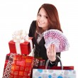 Royalty-Free Stock Photo: Young woman holding euro money, and gift box,.