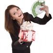Business woman with money,red christmas box. — Stock Photo