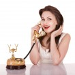 Young beautiful woman talking by phone. — Stock Photo