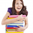 Girl with pile color book . — Stock Photo #6256908
