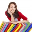 Girl with stack color book . — Stock Photo #6256939