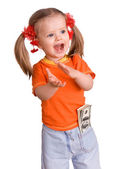 Child girl with dollar banknote. — Stock Photo