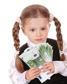 Sad child with money euro. — Stock Photo