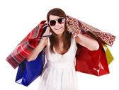 Shopping-tjej med gruppen väska. — Stockfoto