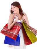 Girl holding group shopping bag. — Foto de Stock