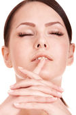Young woman with long false eyelash. — Stock Photo