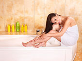Woman take bubble bath. — Stock Photo