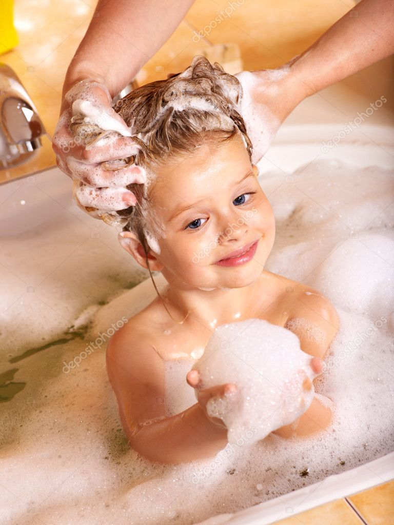 Kid Washing Hair By Shampoo Stock Photo 169 Poznyakov