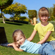 Children with laptop on green grass. — Stock Photo