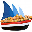 Ship with sail transportation cargo melon. — Stock Photo