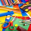 Stock Photo: Close up of school supplies.